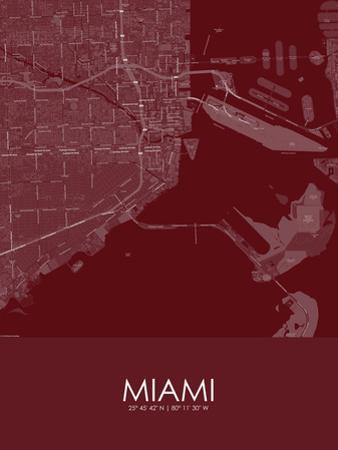 Miami, United States of America Red Map