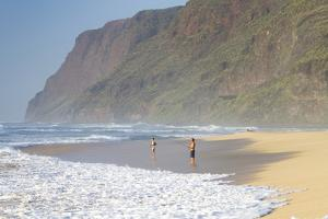 Fishermen Enjoy the Beach, Polihale State Beach Park, Kauai, Hawaii by Micah Wright