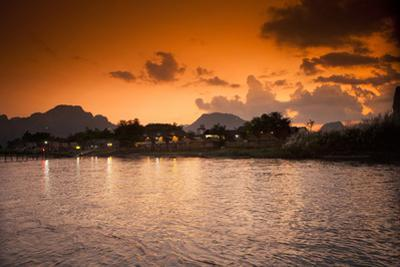 Sunset on the Nam Song River in Vang Vieng, Laos