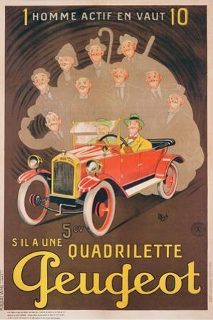 Advertisement for Peugeot, c.1910 by Mich
