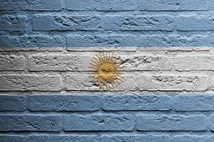 Brick Wall With A Painting Of A Flag, Argentina by Micha Klootwijk