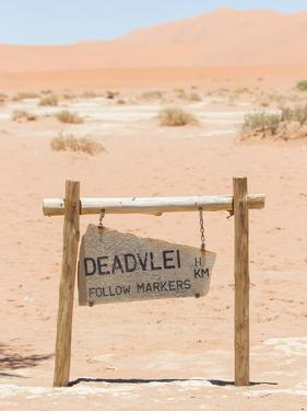 Sign of the Deadvlei (Sossusvlei), the Famous Red Dunes of Namib Desert by Micha Klootwijk