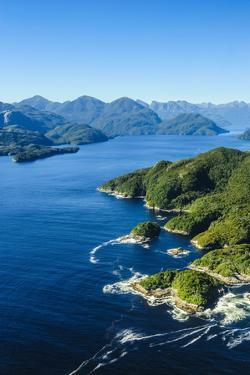 Aerial of a Huge Fjord in Fiordland National Park by Michael