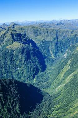 Aerial of the Rugged Mountains in Fiordland National Park by Michael