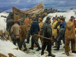 The Lifeboat Is Taken Through the Dunes, 1883 by Michael Ancher