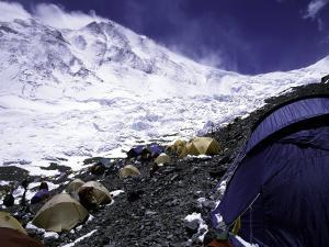 Advanced Base Camp with the Summit of Mt. Everest on Everest North Side, Tibet by Michael Brown