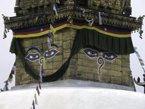 Buddha Eyes on Chorten, Nepal by Michael Brown
