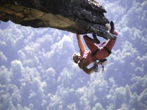 Climber on Edge of Rock, USA by Michael Brown