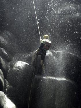 Climber Showered with Water in Cave, Mexico by Michael Brown