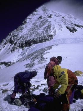Climbers on Everest, Nepal by Michael Brown