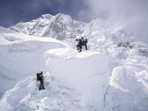 Contimplating the Route, Khumbu Ice Fall by Michael Brown