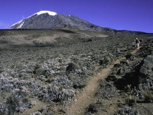 Hikers Moving Through a Rocky Area, Kilimanjaro by Michael Brown
