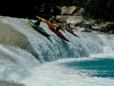 Kayakers Drop Vertically on Shumel Ja River, Mexico by Michael Brown