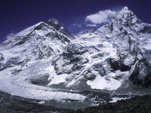 Mount Everest and Ama Dablam Seperated by a Glacier, Nepal by Michael Brown