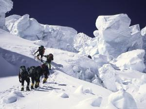 Mountaineering up Khumbu Ice Fall by Michael Brown