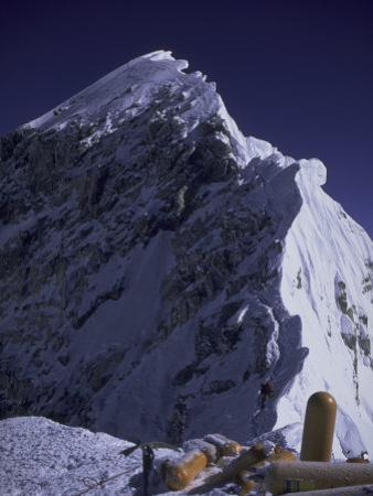 South Summit of Everest with Oxygen Bottles, Nepal by Michael Brown
