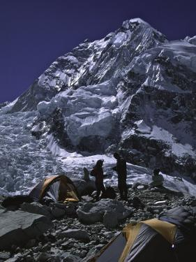 View of Mount Nuptse from Everest Base Camp, Nepal by Michael Brown