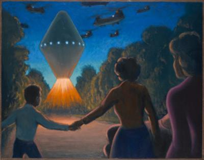 See 'A Diamond of Fire' over the Road Ahead of Them, UFOs by Michael Buhler