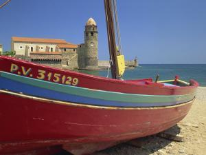Brightly Painted Fishing Boat, Collioure, Cote Vermeille, Languedoc Roussillon, France, Europe by Michael Busselle