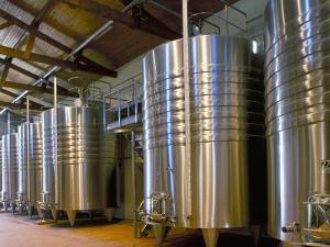 Wine Fermentation Tanks, Chateau Comtesse De Lalande, Pauillac, Gironde, France by Michael Busselle