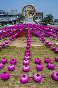 Colourful Lanterns around the King Seong Statue, Buyeo, South Korea, Asia by Michael