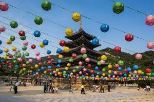 Colourful Lanterns in the Beopjusa Temple Complex, South Korea, Asia by Michael