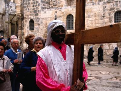 Christian Pilgrims in Easter Procession, Jerusalem, Israel by Michael Coyne