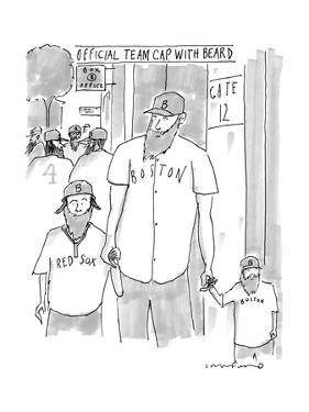 "A man and his two sons, all wear Red Sox gear including ""official team cap? - New Yorker Cartoon by Michael Crawford"