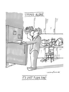 "(A man drinks milk straight from the carton in a very messy kitchen ? ""Liv? - New Yorker Cartoon by Michael Crawford"