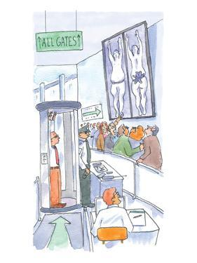 A man is is held up by airport security and the x-rays show him carrying a… - New Yorker Cartoon by Michael Crawford