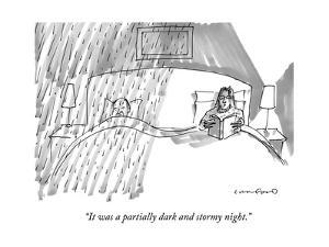A married couple in bed, where the husband is getting rained on, and the w… - New Yorker Cartoon by Michael Crawford