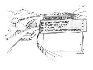 A road sign reads 'Danbury Theme Parks,' and gives the correct exits for t… - New Yorker Cartoon by Michael Crawford
