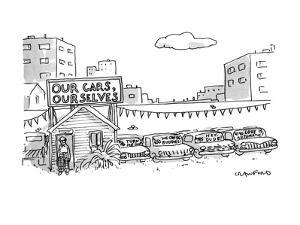 """A used car lot with a sign that says """"Our Cars, Ourselves"""" -- based the po…"""" - New Yorker Cartoon by Michael Crawford"""