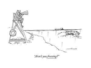 """Aren't you freezing?"" - New Yorker Cartoon by Michael Crawford"