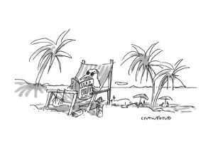 Bird on deck chair on beach reading Seed catalogue. - New Yorker Cartoon by Michael Crawford