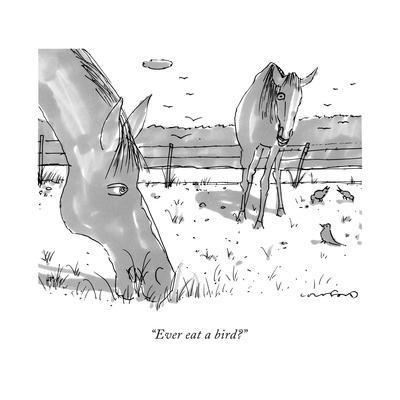 """""""Ever eat a bird?"""" - New Yorker Cartoon"""