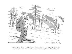 """First thing, Toby?just bend your knees a little and get rid of the cigare?"" - New Yorker Cartoon by Michael Crawford"