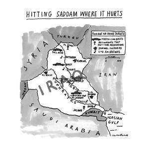 Hitting Saddam Where It Hurts.   Map of possible air-strike targets in Ira… - New Yorker Cartoon by Michael Crawford