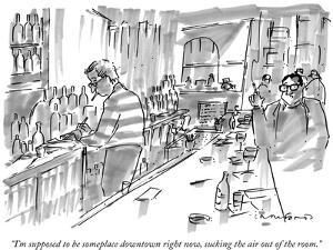 """""""I'm supposed to be someplace downtown right now, sucking the air out of t…"""" - New Yorker Cartoon by Michael Crawford"""