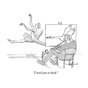 """I need you to honk."" - New Yorker Cartoon by Michael Crawford"