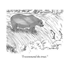 """I recommend the trout."" - New Yorker Cartoon by Michael Crawford"