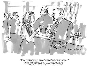 """""""I've never been wild about this bar, but it does get you where you want t…"""" - New Yorker Cartoon by Michael Crawford"""