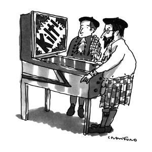 Kilt-wearing Scotsmen are playing a pinball machine; it flashes 'Kilt!' in? - New Yorker Cartoon by Michael Crawford