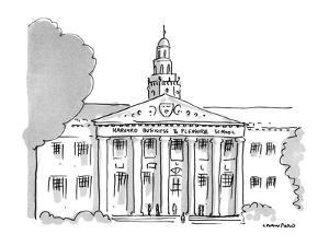 """Large  building with title """"Harvard Business & Pleasure School"""". - New Yorker Cartoon by Michael Crawford"""
