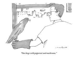 """One large with pepperoni and mushrooms."" - New Yorker Cartoon by Michael Crawford"