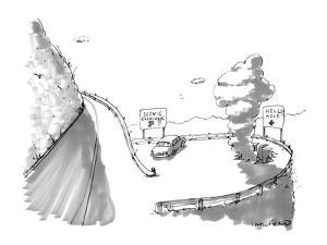 One road sign reads, 'Scenic Overlook,' and another beside a big hole read… - New Yorker Cartoon by Michael Crawford
