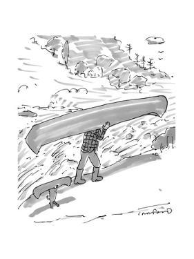 Owner and dog both carry canoes. - New Yorker Cartoon by Michael Crawford