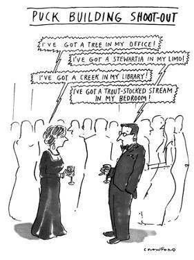 Puck Building Shoot-out - New Yorker Cartoon by Michael Crawford
