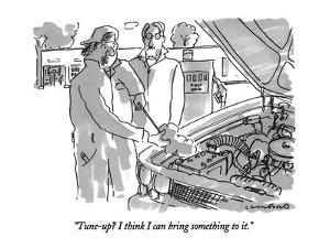 """""""Tune-up?  I think I can bring something to it."""" - New Yorker Cartoon by Michael Crawford"""