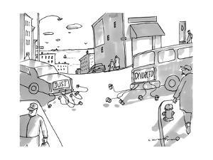 Two cars pull away from each other with cans tied to the bumpers, the car ? - New Yorker Cartoon by Michael Crawford